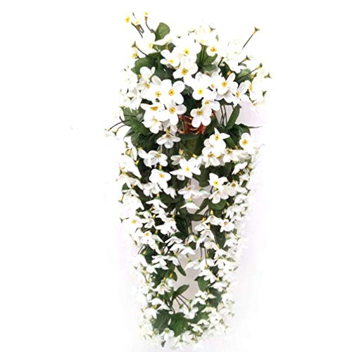 JIAJBG Artificial Rattan 4 Petals Simulation Green Plants Hanging Flowers Violet Fake Vine Garland for Wedding Home Party Garden Craft Decoration for Home and Office Decoration