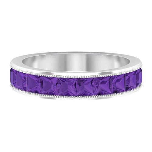 1 CT creado en laboratorio de lavanda amatista aniversario Banda, milgrain anillos para mujer (3 mm, corte princesa, 14K Oro blanco, Size:EU 63