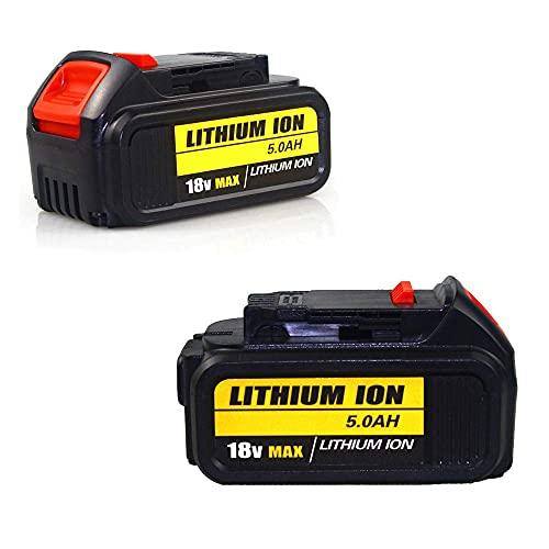 MIJPOJAN Llave de impacto eléctrica inalámbrica, 2 piezas 18 V máx. 5,0 Ah Batería de repuesto de iones de litio para batería Dewalt 18 V DCB180 DCB181 DCB182 DCB201 DCB201-2 DCB200 D