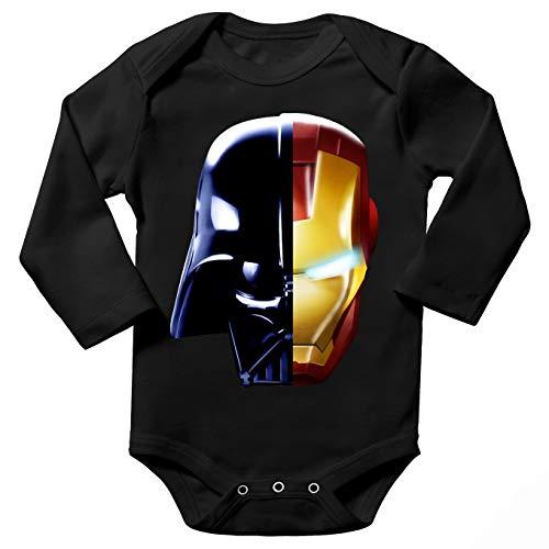 Body bébé Manches Longues Noir Parodie Star Wars - Iron Man - Dark Vador, Iron Man et Daft Punk - Dark Punk - Get Darky : (Body bébé de qualité supérieure de Taille 3 Mois - imprimé en France)