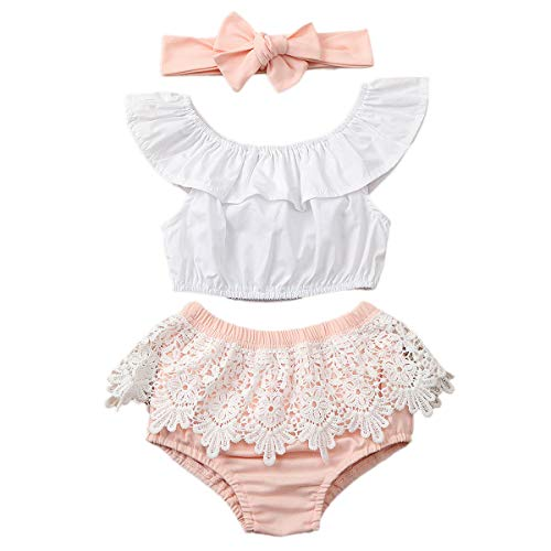 3Pcs Baby Girls Floral Shorts Set Ruffles Dress Shirt Top+Sunflower Bloomer Shorts Pants Outfits Clothes (White Lace, 6-12 Months)