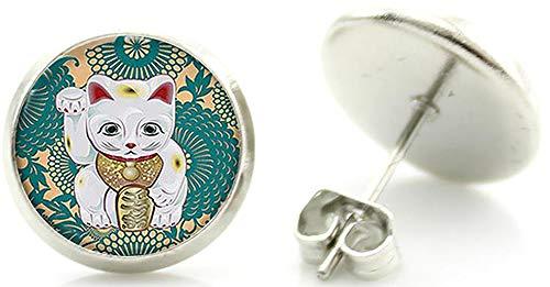 Chat Porte Bonheur Japonais Maneki Neko Clous Boucles d'Oreille Animal Japon Acier Inoxydable Cameleon-Shop