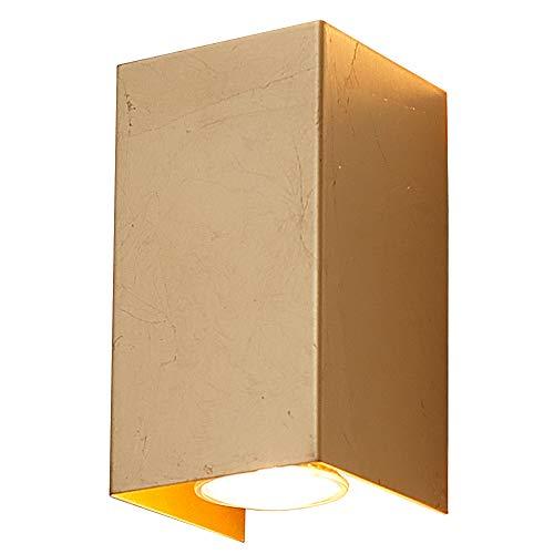 Applique Murale Up&down Couleur or Applique Murale GU10 35W Lampe Carré Lampe Moderne Incl. Ampoules Halogènes