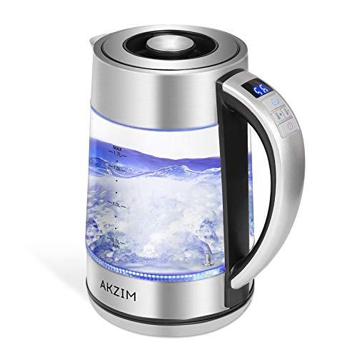 Wasserkocher Glas Edelstahl, AKZIM 1.7 Liter Wasserkocher mit temperatureinstellung&LED Innenbeleuchtung,Auto-off & Trockenlaufschutz,BPA Frei, 360° Basis,Warmhaltefunktion,2200W [Energieklasse A+++]