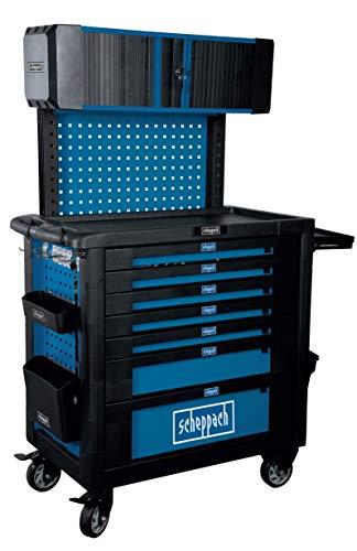 scheppach TW1800 Profi Werkstattwagen 7 Schubladen und Rollladenschrank, gut sortiert 185 tlg. Profi-Werkzeug Traglast max. 450kg