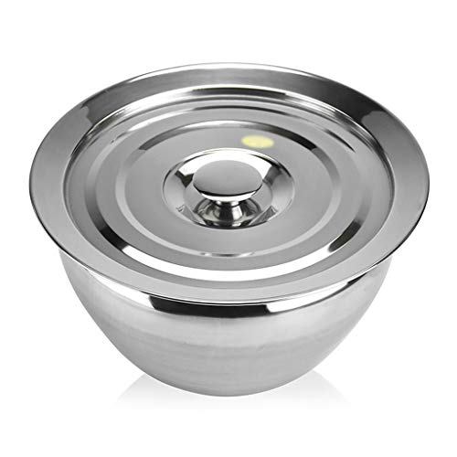 Xuejuanshop Mixing Bowls Set/Mixing Bowl Stainless Steel Mixing Bowl Deepening Batter Bowl with Lid Household Soup Bowl Salad Meat Sauce Pot Mirror Polishing Process Great Gift (Size : 9L)