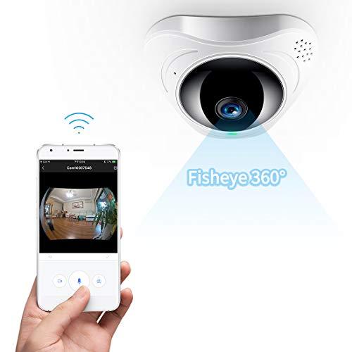 FREDI HD WLAN IP Kamera 360° Sicherheitskamera IP Cam Fischaugenobjektiv Überwachungskamera WLAN...