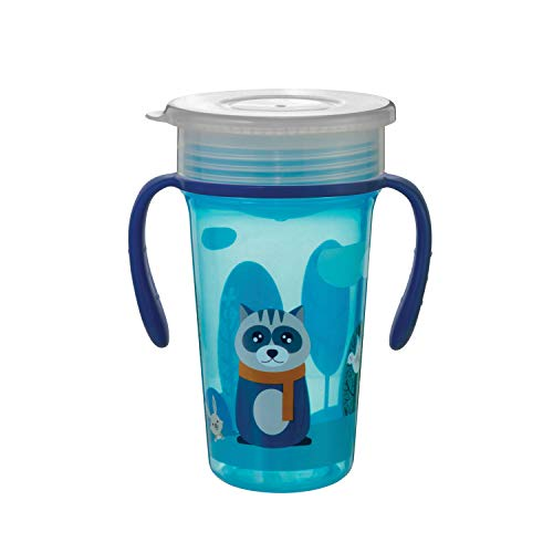 Beebaby 360° Degree Magic Spoutless Transition Sippy Cup with Handle, Blue