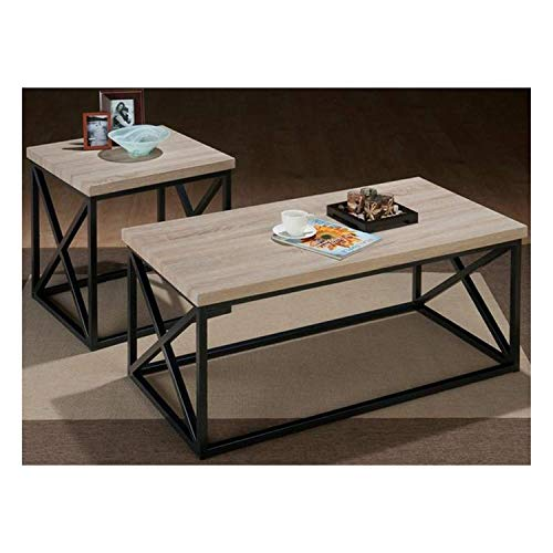 Jofran 3 Piece X-Side Occasional Table Set in Orion Ash