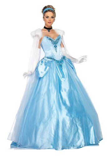 Leg Avenue Disney 6Pc. Deluxe Princess Cinderella Dress Cape Crown Head Piece, Blue, Small