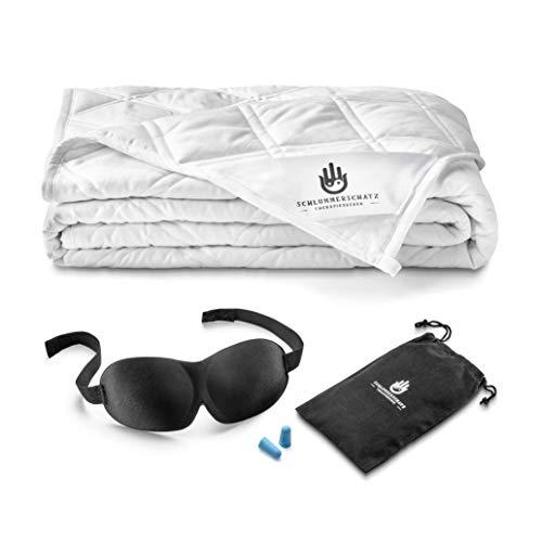 SCHLUMMERSCHATZ Premium Gewichtsdecke 135x200 cm - Schwere Therapiedecke für Kinder und Erwachsene - Weighted Blanket - beschwerte Decke - Therapie Calm Blanket (Weiß, 6)