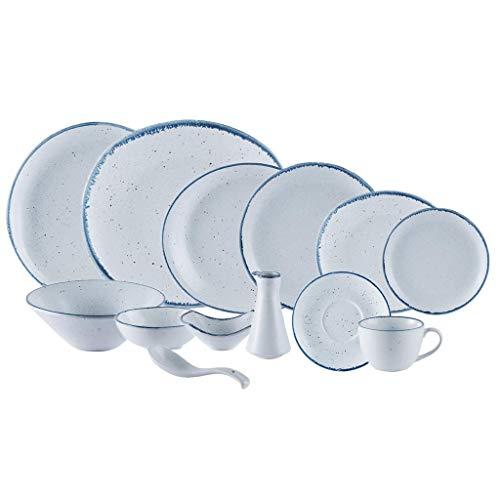 Juego de vajilla de alta gama, juego de vajilla de cerámica, sésamo glaseado Dot 53 piezas, juegos de platos y cuencos / juego de cena de porcelana mate con borde azul para restaurante, apto para mic
