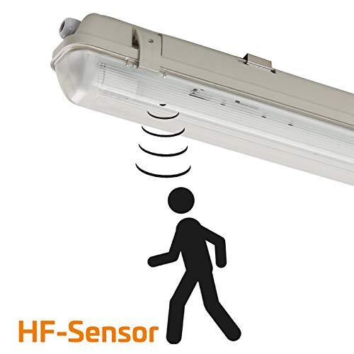 Proventa | Feuchtraumleuchte mit HF-Bewegungsmelder und LED-Röhre | 120 cm | 1x 18W | 4.000 K | IP65 | Kunststoff grau | Feuchtraumwannenleuchte | LED-Wannenleuchte | LED-Leuchtstofflampe
