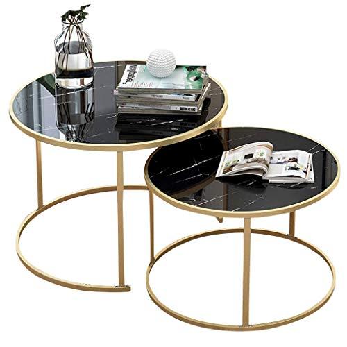 FCXBQ Home D & Eacute; COR Furniture Einfacher stapelbarer Couchtisch, runde Wohnzimmertische im Wohnzimmer, 2er-Sofa- / Beistelltisch, MDF-Platte und schmiedeeiserner Rahmen, leicht zu reinigende