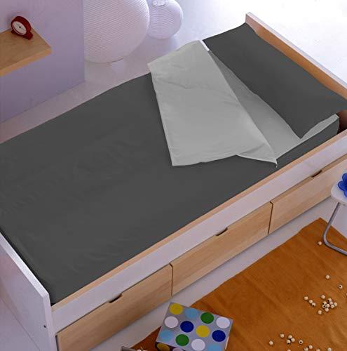 Denisa Home Saco Nórdico Liso sin Relleno (Disponible en 10 Colores) (90 cm, Antracita-Perla)