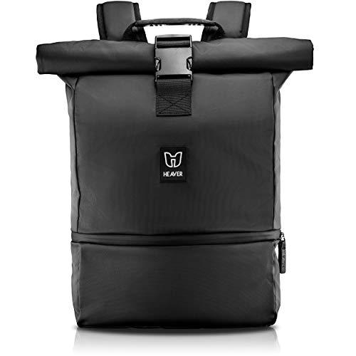 HEAVER® Rucksack Rolltop schwarz mit Schuh- & Laptopfach, für Damen & Herren, Flexibles Volumen bis 28L, wasserabweisend, für Sport, Freizeit, Uni, Reisen & Job