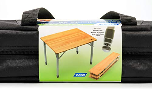 Camco 51895 Bamboo Folding Table with Aluminum Legs- Compact Design