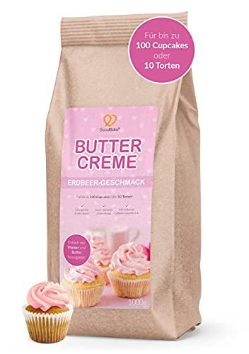 GoodBake Buttercreme Fertigmischung (1kg) mit Erdbeer-Geschmack – gelingsichere Buttercreme-Mischung – z.B. zum Einstreichen & Garnieren, Topping für Cupcakes & Fondant-Torten oder als Füllung