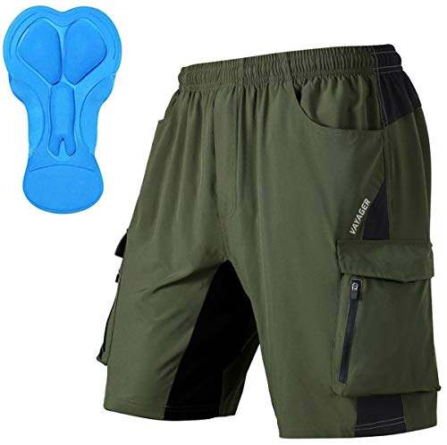 Men's Mountain Bike Shorts 3D Padded Bicycle MTB Shorts Loose-fit Lightweight MTB Cycling Shorts (Army Green, Large)