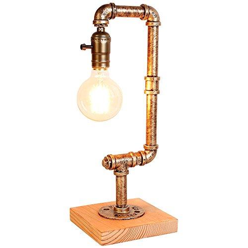 Pointhx Antike Steampunk Wasserpfeife Tischlampe Retro Industrieleuchten Einzelkopf Holzsockel Schreibtischlampe für Cafe Wohnzimmer Bars Schlafzimmer Nachttischlampe mit Dimmen Schalter
