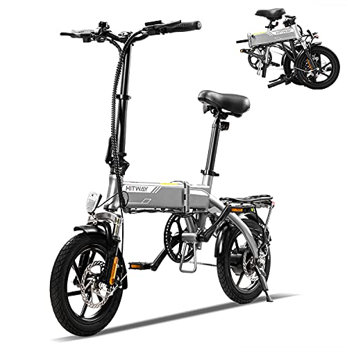 HITWAY Electric Bike, E Bike City bikes,14 inch Folding Electric Bicycle for Adults, Folding Bike Bicycle Made of Aerospace Aluminum, with 250W Motor, 7,5Ah Removable Battery, Range Up to 45 km