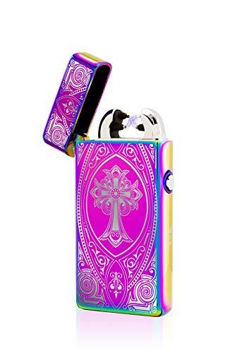 TESLA Lighter TESLA Lighter T08 Lichtbogen Feuerzeug, elektronisches Feuerzeug, wiederaufladbar per USB inkl. Geschenkverpackung, Kreuz Regenbogen Regenbogen