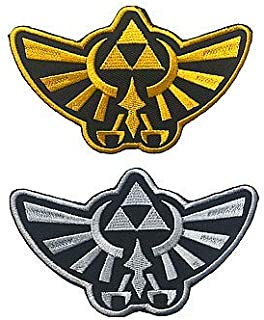 2 Pieces Zelda Hyrule Crest Wing Triforce Military Hook Loop Tactics Morale Embroidered Patch (color3)