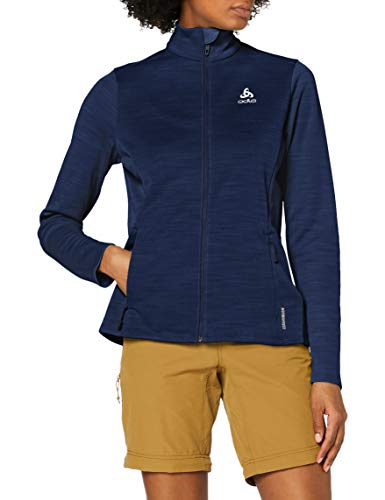 Odlo Damen Midlayer Full Zip Blaze CERAMIWARM Element Fleecejacke, Diving Navy Melange, M