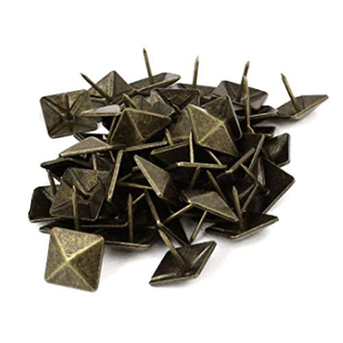Sydien 50 Pcs Antique Brass Square Cone Upholstery Nails Furniture Tacks Pushpins Hardware Decor