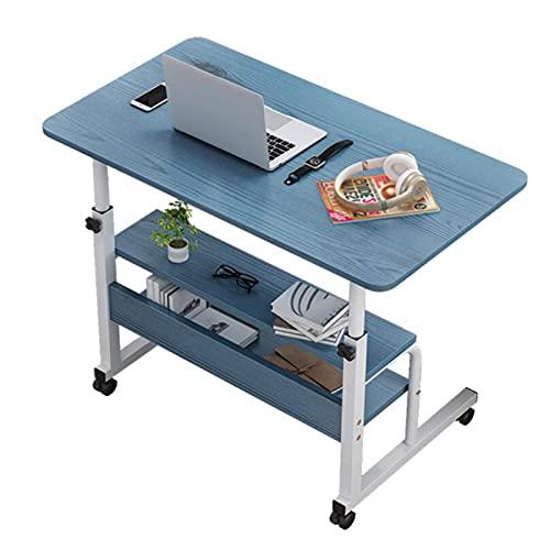 Mesa Ordenador Portátil Grande con Ruedas,Almacenamiento Multicapa Los 40×60cm Altura Ajustable Estación de Trabajo Escritorio para Computadora (Color : Blue, Size : 60x40CM)