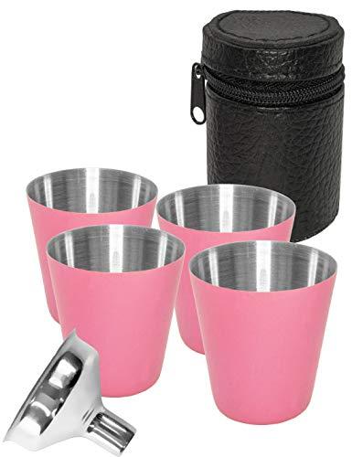 Outdoor Saxx® - 6-teiliges Edelstahl-Becher, Trink-Becher Set, 4 Schnaps-Becher Schnaps-Gläser aus Metall, Metall-Becher mit Leder-Tasche, Einfüll-Trichter, ideales Flachmann-Zubehör, pink, rosa
