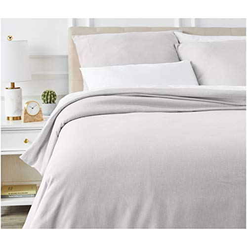 AmazonBasics Chambray Duvet Cover Set - 155 x 220 cm / 80 x 80 cm x 2, Soft Grey