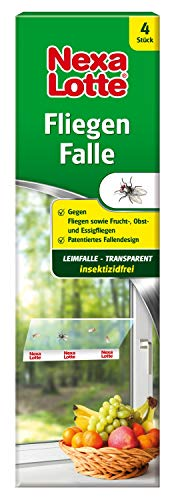 Nexa Lotte Fliegenfalle, transparente Klebefalle gegen Fliegen, Fruchtfliegen, Obstfliegen, Essigfliegen in allen Räumen, unauffällig am Fenster, Leimfalle, dezent, insektizidfrei, 4 St.