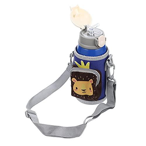 VALICLUD Botella de Acero Inoxidable de 550Ml con Paja Y Manga para Niños de Dibujos Animados Animal Portátil Aislado Viaje Taza León