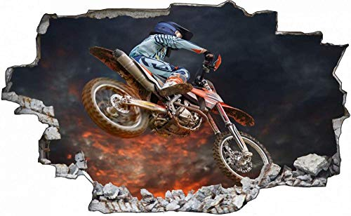 Tatuaje de pared en 3D agujero de la pared Sticker Pegatina Adhesivo Calcomanía Decoración para dormitorio o la sala de estar,Motocicleta de motocross de automovilismo 70x110cm