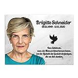 Paule Black Grabschmuck Gedenktafel für Menschen aus Marmor mit UV-Druck 30 x 20 cm - Individueller Text und Foto