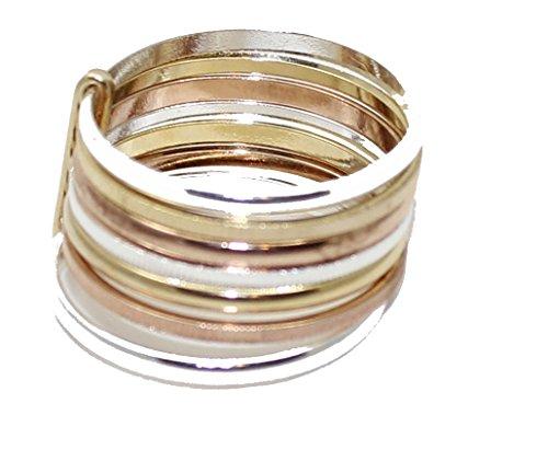 Diamantados of Fla Semanario - Anillo de 7 anillos de la suerte, chapado en oro de 18 quilates, tamaño 6