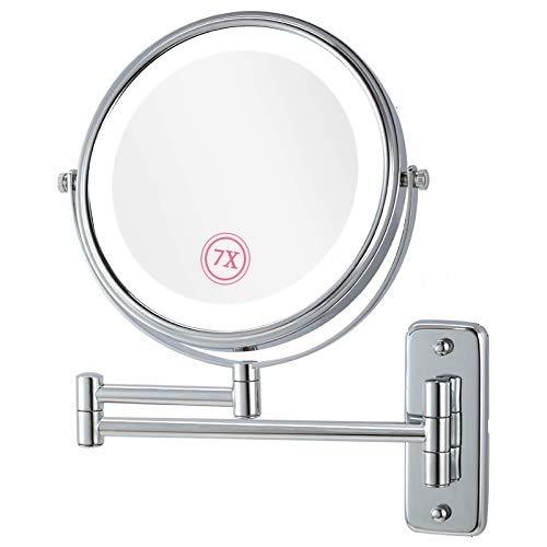 Tagorine Kosmetikspiegel mit LED Beleuchtung und 1x/7x Fach doppelseite Vergrößerung Schminkspiegel, 360 °Schwenkbar Wandmontage Badezimmer Wandspiegel, Metall Verchromt