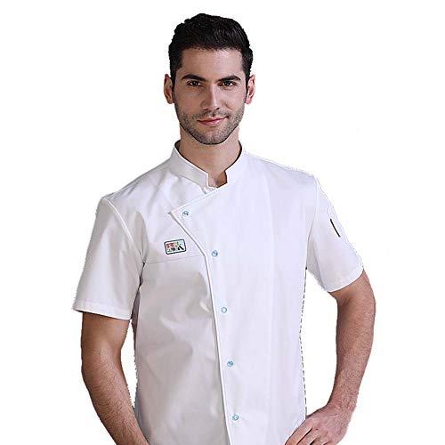 Best 4U Neue Chef einheitliche Unisex-Chef Kleidung Bäckerei Restaurantküche Arbeitskleidung Mantel Kurze Ärmel Kellnerin Catering Koch,XL