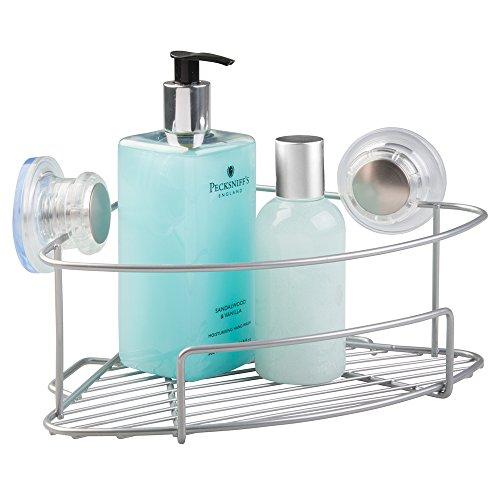 mDesign Turn-N-Lock Zuig Badkamer Douche Organisator Hoek Mand Plank voor Shampoo, Conditioner, Zeep - Zilver