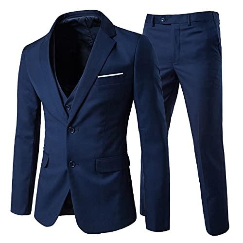 Cloud Style Costume Trois-pièces Veste Gilet Pantalon Affaires Mariage, Bleu Marine, XL