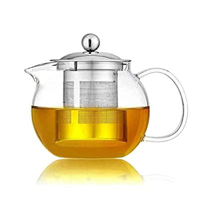 Glass Teapot,Glass Teapot with Removable Stainless Steel Strainer,Glass Tea Pot for Loose Tea, Glass Teapot with Infusers for Loose Tea, Tea Pot for Stove (950ML)