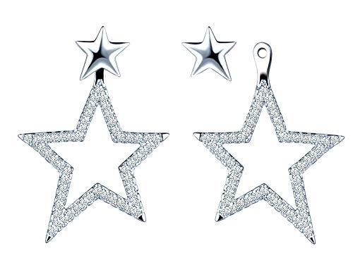 MICSAVI Zirkonia Stern Baumeln Ear Jacket Ohrringe Damen 925 Sterling Silber Sterne Ohrhänger Ohrstecker Ohrringe für Frauen Mädchen