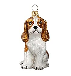 Blenheim Cavalier King Charles Spaniel Puppy Polishガラスクリスマスオーナメント[Pinnacle Peak Trading Company/Amazon]