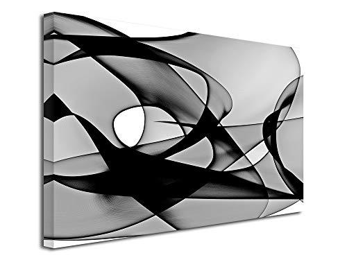 DECLINA, Tableau Decoration Murale Salon Moderne, Cadres decoratif Mural,Tableau Toile déco Design Vortex 50x30 cm Noir et Blanc