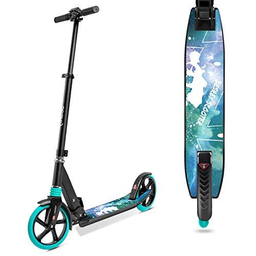 besrey Scooter Kickscooter Tretroller für Erwachsene Teenager ab 8 Jahren Faltbar Höhenverstellbar Cityroller City Roller 200mm Big Wheel Scooter - Grün
