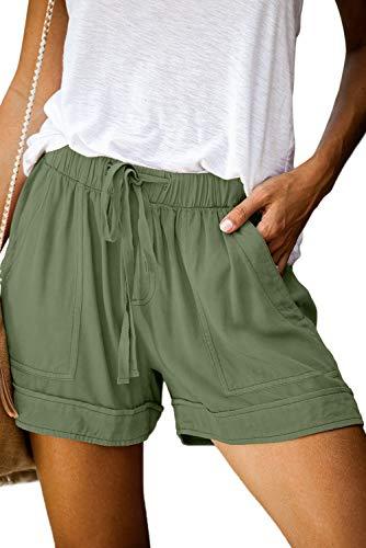 ANFTFH Women Comfy Drawstring Casual Elastic Waist Pocketed Shorts Pants Green M