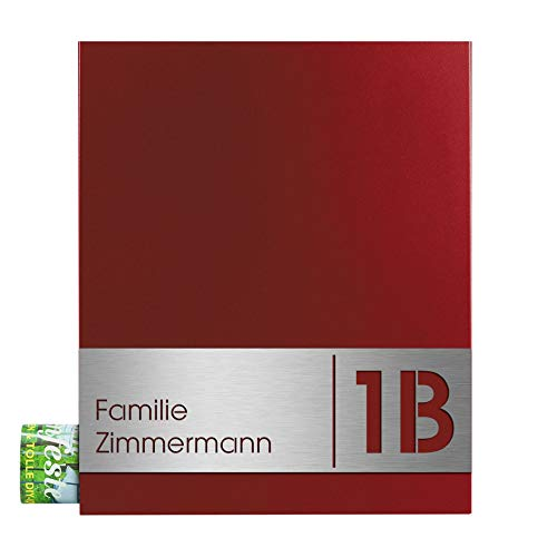 Design-Briefkasten mit Zeitungsfach rubin-rot (RAL 3003) MOCAVI Box 111 Postkasten mit Hausnummer und Name V4A-Edelstahl graviert modern groß DINA4