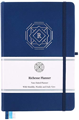 Richesse Planner - Daily Planner to Increase Productivity, Time Management & Happiness and Hit Your Goals - Undated, Hardcover & A5 Size - 6 Months (Royal Blue)