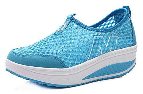 CELANDA Zapatos de Deporte para Mujers Adelgazar Zapatos Sneakers para Caminar Zapatillas Aptitud Cuña Zapatos de Plataforma C Azul Tamaño: 38 EU